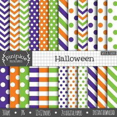 Halloween Scrapbook Paper Digital Paper Commercial Use by Pininkie