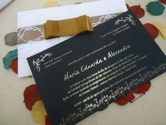 Convite de Casamento com Rendas e Papel ecológico