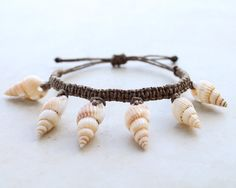Brown Seashells Hemp Bracelet  Hemp Jewelry by controversial, $12.00