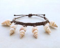 Brown Seashells Hemp Bracelet Hemp Jewelry by controversial, $12.00