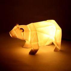 Lamp . Origami Bear / White