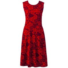 Lands' End Women's Petite Sleeveless Ponte Paneled A-line Dress ($45) ❤ liked on Polyvore featuring dresses, red a line dress, red cocktail dress, petite dresses, red holiday cocktail dress and red dress