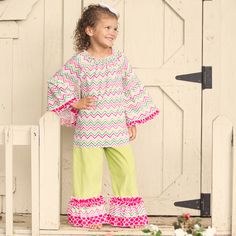 Lolly Wolly Doodle Pink Gray Dot Corduroy Extreme Ruffle Pant Set 8/15