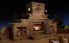 fireplace outdoors | Outdoor Gas & Wood Fireplace (Grand) with optional Wood storage