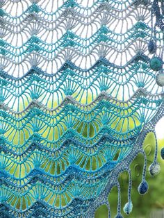 """Oceania"" (crochet shawl, lace wrap, crochet lace, crochet cotton shawl) Crochet Shawls And Wraps, Knitted Shawls, Crochet Poncho, Crochet Scarves, Crochet Yarn, Crochet Crafts, Crochet Clothes, Crocheted Lace, Crochet Curtains"