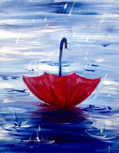 Red umbrella in the splashing rain, beautiful-examples-of-acrylic-painting-27