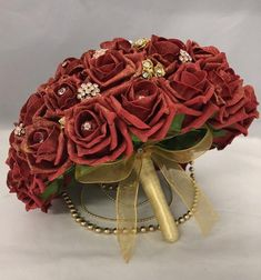 Asian wedding bouquet deep red and gold bride bouquet artificial flowers red rose gold brooches gold hanging pearls diamantes gold glitter Bride Bouquets, Bridesmaid Bouquet, Silver Ballgown, Flower Girl Bouquet, Foam Roses, Wedding Abroad, Asian Bride, Calla Lily, Artificial Flowers