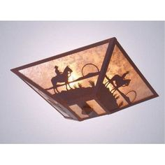 Steel Partners Cowboy Sunset Drop Ceiling Mount Finish: Rust, Shade Color: Bungalow Green