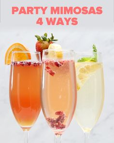 Featuring Mint Tea Lemonade Mimosa, Orange Pomegranate Mimosa, Cranberry Lemon Mimosa and Strawberry Mango Mimosa Orange Juice Cocktails, Champagne Drinks, Cocktail Drinks, Alcoholic Drinks, Brunch Drinks, Beverages, Fall Drinks, Summer Drinks, Mixed Drinks
