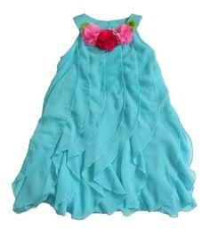 Peaches n Cream Girls 4-6x Blue Cascading Ruffle Chiffon Dress, 6x Peaches 'n Cream