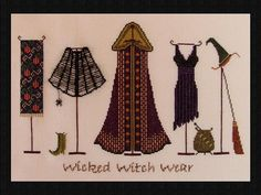 Halloween Cross Stitch Design Wicked Witch by TurquoiseGraphics, $9.00