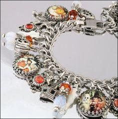 Silver Charm Bracelet Halloween Jewelry Great by BlackberryDesigns, $97.00