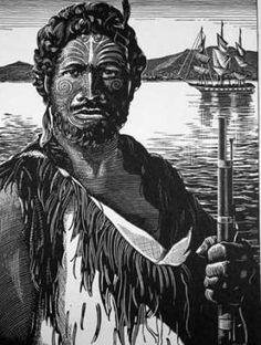 This engraving by Arnold Frederick Goodwin shows the Ngāpuhi chief Hongi Hika. Like many chiefs of the he has a full facial moko (tattoo). Sometimes people with tattoos were described as pou (posts), because like a post they had in a sense been '. Polynesian People, Bay Of Islands, Cook Islands, Modern World History, Maori People, New Zealand Art, Maori Art, Kiwiana, Large Tattoos