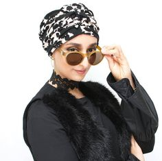 This item is unavailable Turban, Modest Fashion Hijab, Down Hairstyles, Cut And Style, Elegant, Black Print, Contemporary Style, Eyebrows, Work Wear