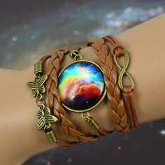 Multilayer Braided Leather Bracelet Bangles Milky Way Galaxy Cabochon Infinity Charms Wristband Cuff Leather Bracelet.