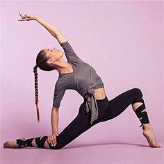 Tmrow Women's Yoga Pants Legging Cutout Tie Cuff Slim Yoga Pants Jogger Workout Tights (M)