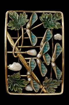 Choker plaque, Gold, turquoise and green plique-à-jour enamels, and baroque pearls. Of convex rectangular form with two pin fastenings across the back. The frame encloses an arrangement of a diagonal branch, four sycamore leaves, five winged sycamore seed pods on vertical stems, and four baroque pearls mounted on vertical stems; paris of smaller pearls are set in each of the winged seed pods. Circa 1900