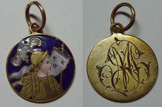 """Exceptionnelle médaille ancienne  """" Jeanne D'arc """" - bronze emaillé"""