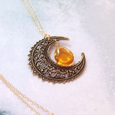 Gold Harvest Moon Necklace, Crescent Moon Necklace, Wiccan Necklace, 14K gold filled, yellow topaz, pagan, filigree, fall fashion, wicca on Etsy, $25.00