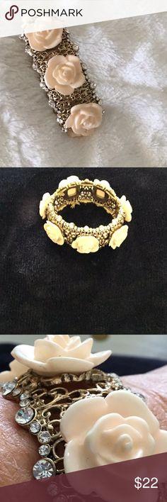Peach rose gold diamond bracelet from Macy's Crystal peach rose gold slip on bracelet Macy's Jewelry Bracelets