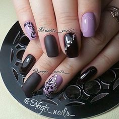 Accurate nails, Beautiful evening nails, Black and purple nails, Long nails, Matte nails, Matte nails with glossy pattern, Nails with curls, Nails with rhinestones ideas