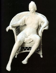 Woman on White Wicker Chair by George Segal