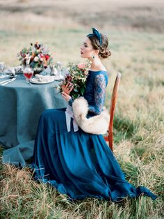 An imperial themed, Russian wedding inspiration shoot with a royal blue lace wedding dress, dogs in weddings, and Russian wedding details. Blue Wedding Dresses, Wedding Dress Accessories, Bridal Dresses, Wedding Gowns, Azul Pantone, Pantone Color, Russian Wedding, European Wedding, Unconventional Wedding Dress