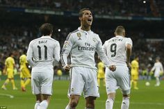 Cristiano #Ronaldo celebrates with Gareth #Bale and Karim #Benzema after putting Real Madrid 1-0 up from the penalty spot.