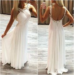 Long prom dress, white prom dress, simple prom dress
