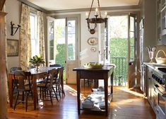 Kitchen French doors make the space feel light and airy despite its small size!