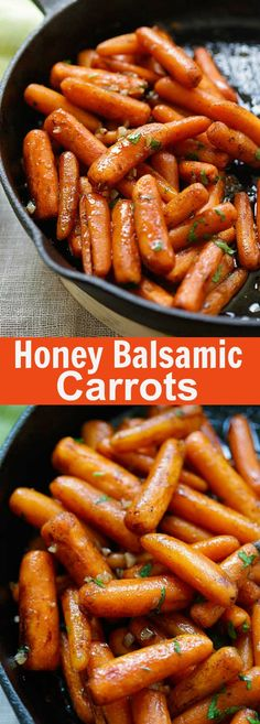 Honey Balsamic Carrots – oven-roasted carrots with honey balsamic glaze. The easiest and best balsamic carrots recipe ever | rasamalaysia.com