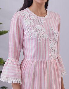 Buy Pink Striped Embellished Shirt Dress by Pankaj & Nidhi Available at Ogaan Online Shop Dress Designs, Blouse Designs, Plain Kurti Designs, Lovely Dresses, Pink Stripes, Satin Dresses, Saree Blouse, Kurtis, Wardrobes