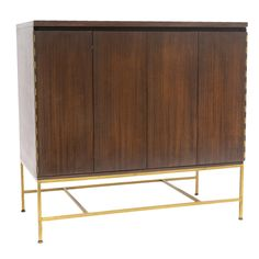 Paul McCobb; #7303 Brass and Mahogany Cabinet for Calvin, 1960s.