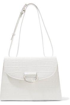 ba5c50aefb08 Little Liffner - Lady D Croc-effect Leather Shoulder Bag - White