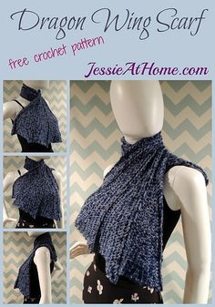 Dragon Wing Scarf ~ free crochet pattern by Jessie At Home