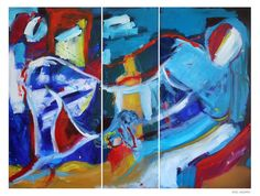 "This is one of my latest paintings, ""Poesia di Roca"" (""Roca Poetry""). It's a large triptych and has all the energy of the summer sea :-)"
