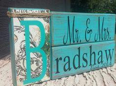 Tür- & Namensschilder - Rustikale Hochzeits-Geschenk mit Namen - ein Designerstück von rusticramblings bei DaWanda