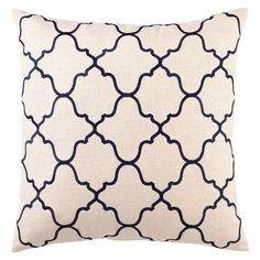 DL Rhein Moroccan Tile Navy Embroidered Linen Pillow