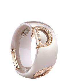 カプチーノセラミック、ピンクゴールド、ダイヤモンドのリング
