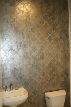 Activated tissue using Modern Masters Metal Effects with Copper Reactive Metallic Paint Blue Patina with Platinum and Warm Silver on top; Moorish Trellis stencil in teal. Faux Painting, Painting Walls, D House, Moroccan Design, Modern Masters, Wall Finishes, Moorish, Do It Yourself Home, Wall Treatments