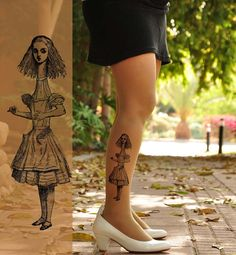 ALICE  in  WONDERLAND /   Tattoo Tights size  S / M  by TightsShop, $20.00