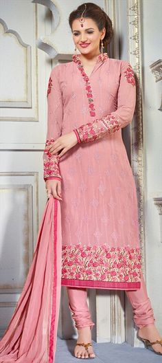 451911 Pink and Majenta  color family Party Wear Salwar Kameez in Faux Georgette fabric with Lace, Machine Embroidery, Stone work .