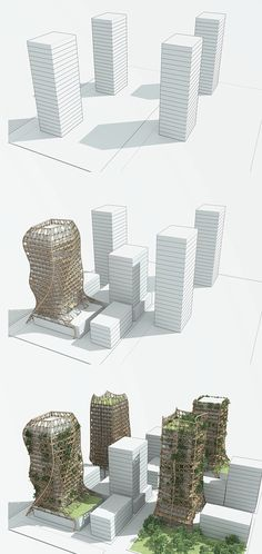 To use permanent bamboo scaffoldings as a driving force to promote the revival of these buildings. Each scaffolding is fashioned to the needs and wants of the building, giving each a unique identity. The bamboo shell also allows residents to expand their dwelling outward in the form of fresh air spaces and vertical gardens.