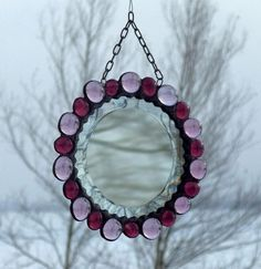 Round Purple and Lilac Beveled Glass Mirror by SNLCreations, $40.00