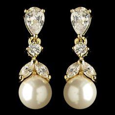 'Marianne' gold crystal pearl vintage style wedding earrings, £30.00