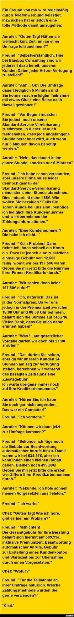 Ein Freund von mir wird regelmäßig durch Telefonwerbung belästigt | DEBESTE.de, Lustige Bilder, Sprüche, Witze und Videos
