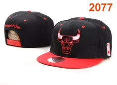 Mitchell & Ness Chicago Bulls Snapback Hat Black Red $8.99
