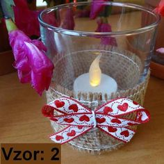 Svietnik sklenený s mašľou - Sviečka - S čajovou sviečkou LED (plus 1€), Vzor - Vzor 2