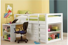 Carlo Mini Sleeper Single Bed. Loft bed with drawers, desk and bookshelves. Perfect for small spaces.