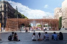 urbanus extends ancient wall with bamboo for BCN re.set in barcelona